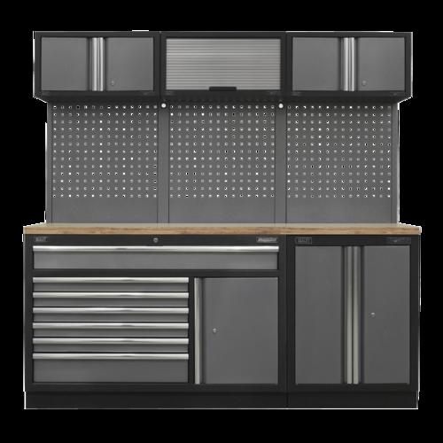 Superline Pro 2.04m Storage System - Pressed Wood Worktop - Sealey - APMSSTACK11W