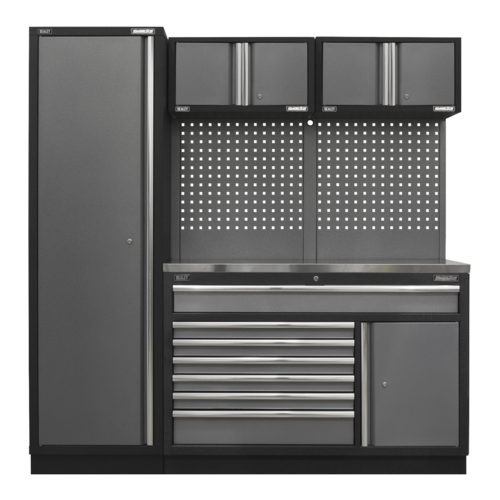 Superline Pro 1.96m Storage System - Stainless Steel Worktop - APMSSTACK10SS