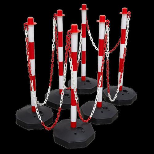 Red/White Post & Chain Kit 25m - Sealey - RWSBKIT