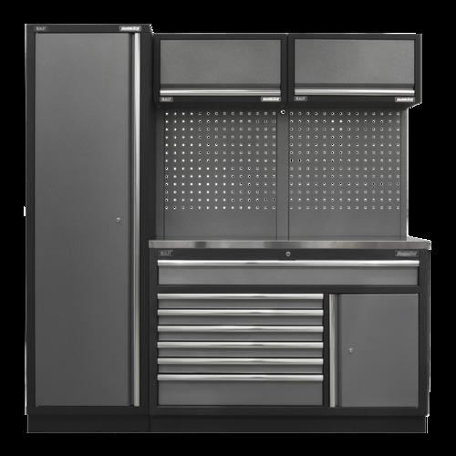 Superline Pro 1.96m Storage System - Stainless Steel Worktop - APMSSTACK09SS