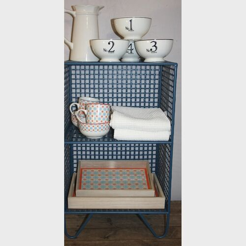 2 Tier Square Side Table Blue