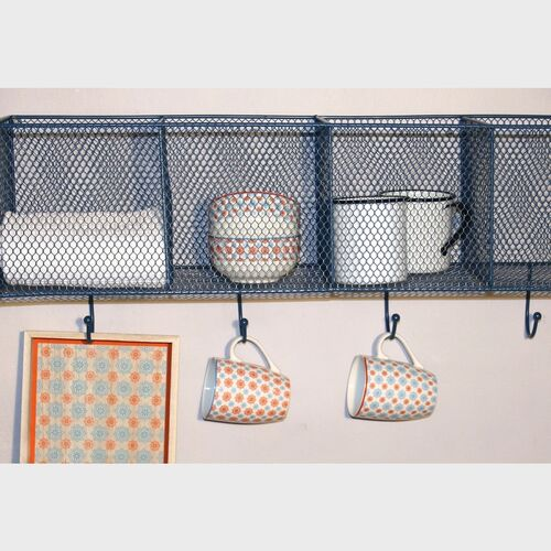 4 Basket And Hook Wall Unit Blue