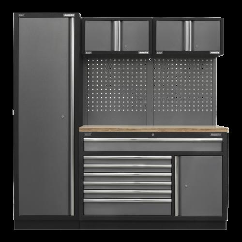 Superline Pro 1.96m Storage System - Pressed Wood Worktop - APMSSTACK10W