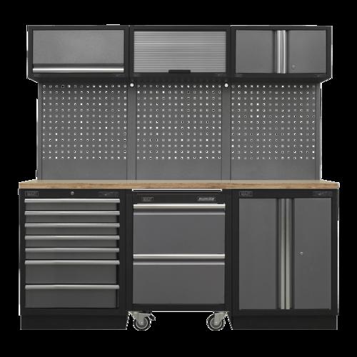 Superline Pro 2.04m Storage System - Pressed Wood Worktop - APMSSTACK12W
