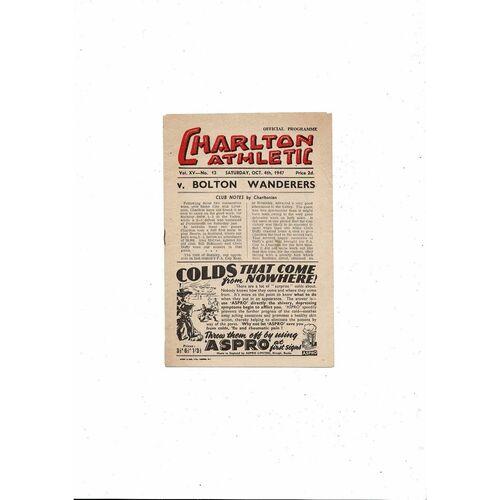 1947/48 Charlton Athletic v Bolton Wanderers Football Programme