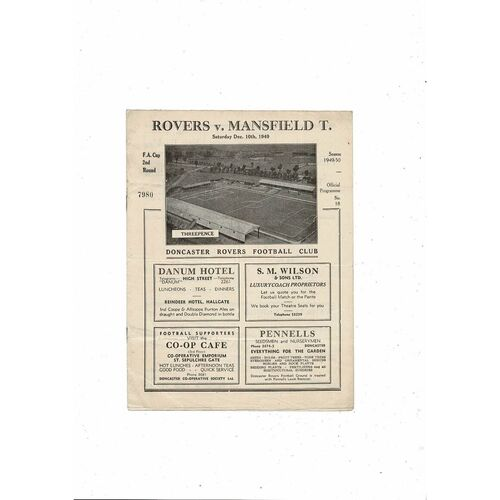 1949/50 Doncaster Rovers v Mansfield Town FA Cup Football Programme