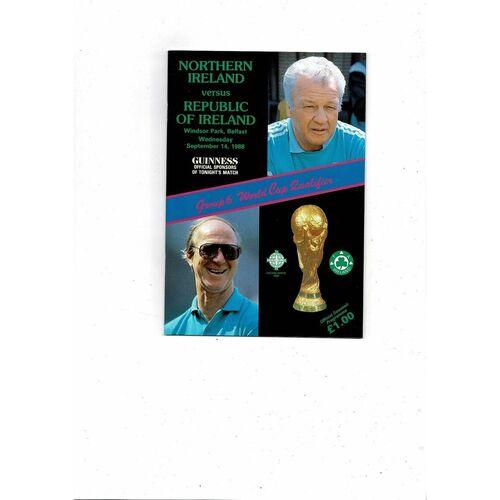 1988 Northern Ireland v Republic of Ireland Football Programme