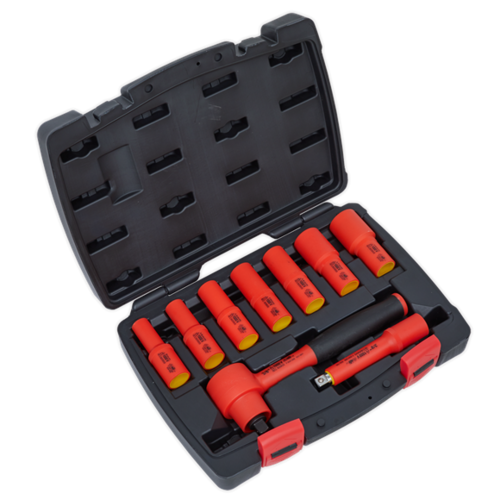 """Insulated Socket Set 9pc 3/8""""Sq Drive 6pt WallDrive® VDE Approved - Sealey - AK7942"""