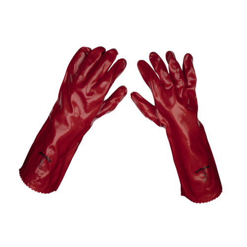 Red PVC Gauntlets 450mm - Pack of 120 Pairs - Sealey - 9114/B120 - £2.96 a Pair!