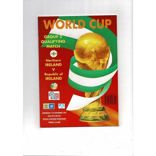 1993 Northern Ireland v Republic of Ireland World Cup Football Programme Red Cover