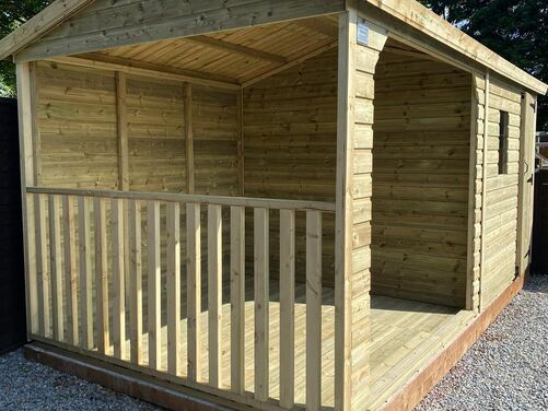#011 16x8 Apex Shed with Hot Tub Area