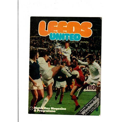 1974/75 Leeds United v Wimbledon Football Programme