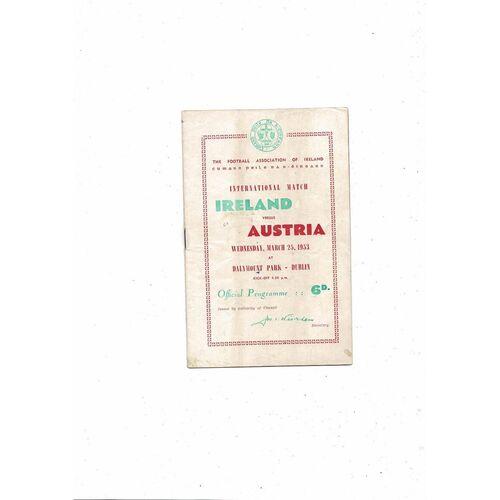 1953 Republic of Ireland v Austria Football Programme