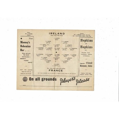 1953 Republic of Ireland v France Football Programme