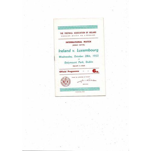 1953 Republic of Ireland v Luxembourg Football Programme + Press cutting