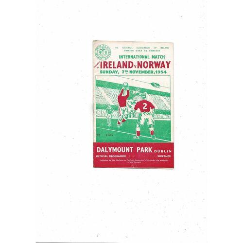 1954 Republic of Ireland v Norway Football Programme
