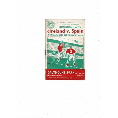1955 Republic of Ireland v Spain Football Programme