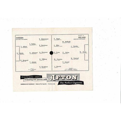 1959 Republic of Ireland v Sweden Football Programme