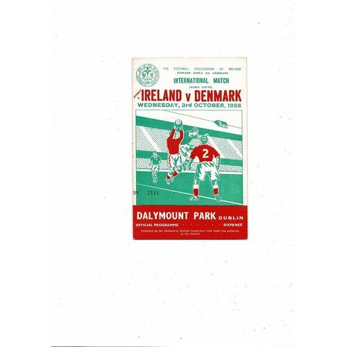 1956 Republic of Ireland v Denmark Football Programme