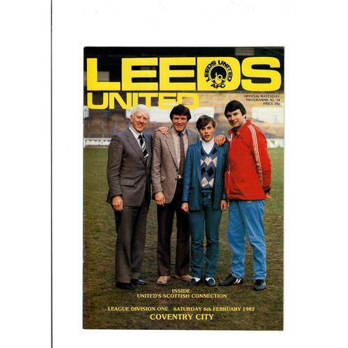 1981/82 Leeds United v Coventry City Football Programme