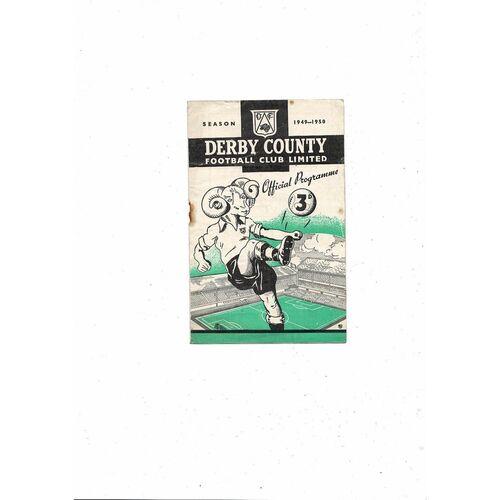 1949/50 Derby County v Burnley Football Programme