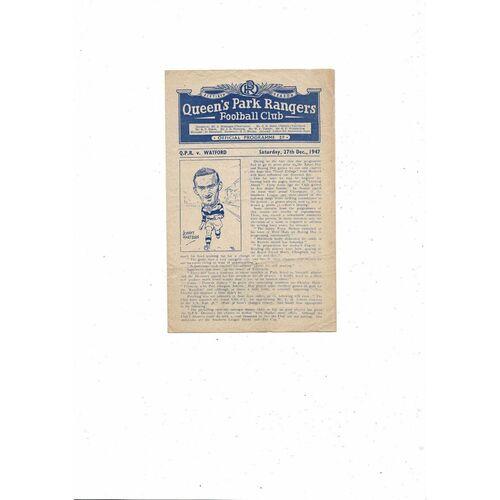 1947/48 Queens Park Rangers v Watford Football Programme