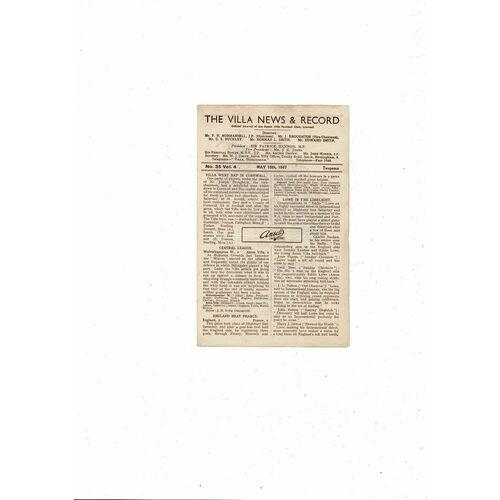 1946/47 Aston Villa v Blackburn Rovers Football Programme