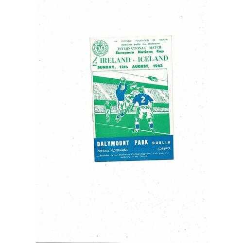 1962 Republic of Ireland v Iceland Football Programme