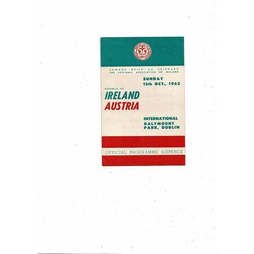 1963 Republic of Ireland v Austria Football Programme