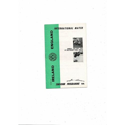 1964 Republic of Ireland v England Football Programme
