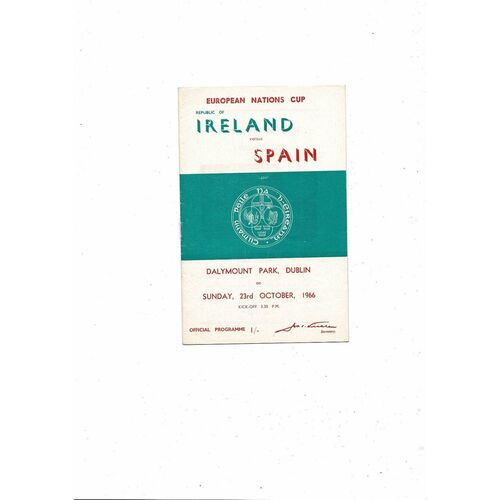 1966 Republic of Ireland v Spain Football Programme
