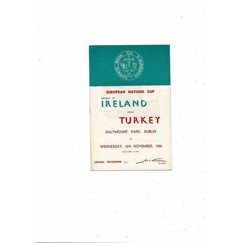 1966 Republic of Ireland v Turkey Football Programme