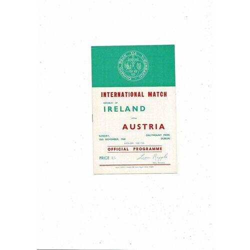 1968 Republic of Ireland v Austria Football Programme