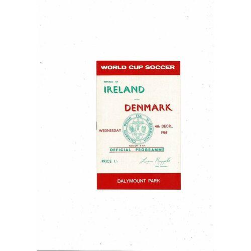 1968 Republic of Ireland v Denmark Football Programme