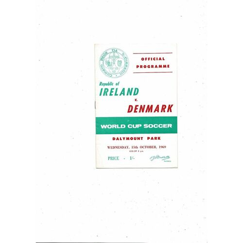 1969 Republic of Ireland v Denmark Football Programme