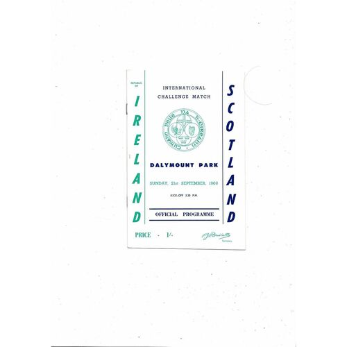 1969 Republic of Ireland v Scotland Football Programme