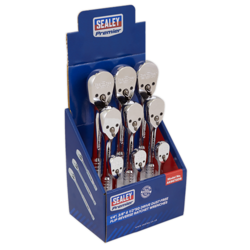"""Ratchet Wrenches 1/4"""", 3/8"""" & 1/2""""Sq Drive Pear-Head Flip Reverse Display Box of 9 - AK6672DB - Sealey"""