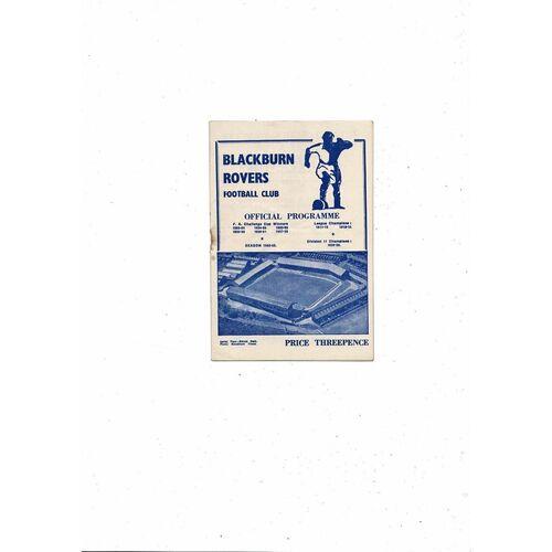 1952/53 Blackburn Rovers v Plymouth Argyle Football Programme