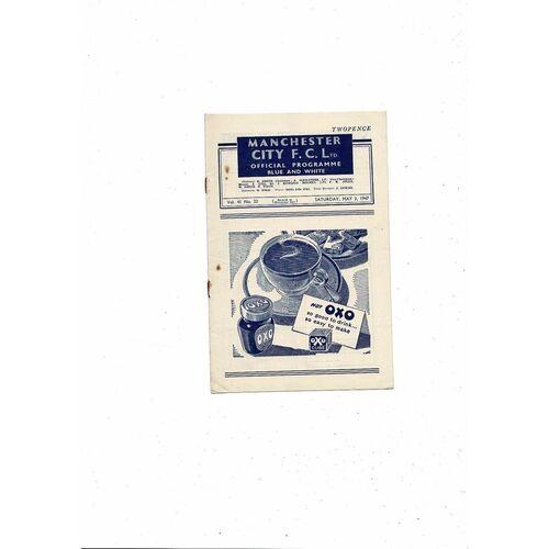 1946/47 Manchester City v Newcastle United Football Programme
