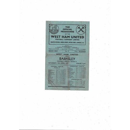 1948/49 West Ham United v Barnsley Football Programme