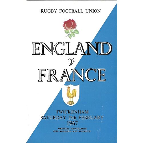 1967 England v France Five Nations Rugby Union Programme