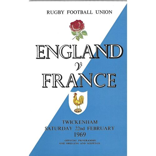 1969 England v France Five Nations Rugby Union Programme