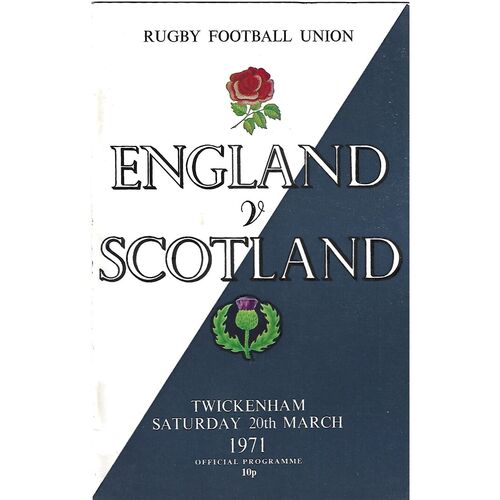 1971 England v Scotland Five Nations Rugby Union Programme