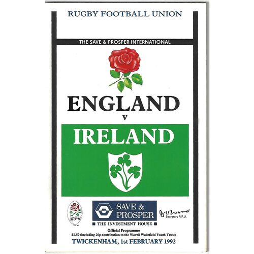 1992 England v Ireland Five Nations Rugby Union Programme