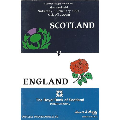 1994 Scotland v England Five Nations Rugby Union Programme