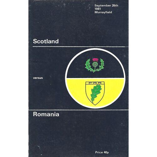 1981 Scotland v Romania (26/09/1981) International Rugby Union Programme
