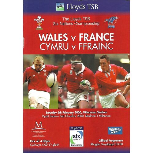 2000 Wales v France Six Nations Rugby Union Programme