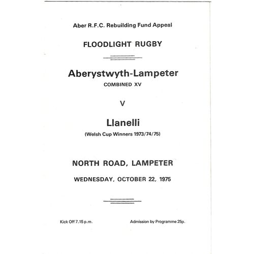 1975/76 Aberystwyth-Lampeter Combined XV v Llanelli (22/10/1975) Aber R.F.C Rebuilding Fund Appeal Rugby Union Programme
