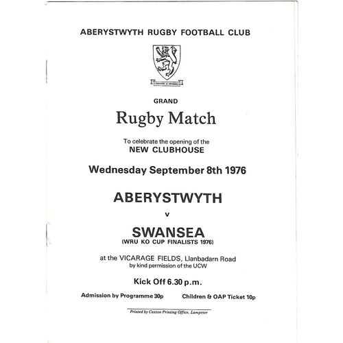 1976/77 Aberystwyth v Swansea (08/09/1976) New Clubhouse Opening Match Rugby Union Programme