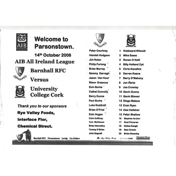 2006/07 Barnhall v University College Cork AIB All Ireland League Rugby Union Programme